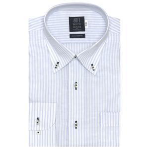 標準体 長袖 Wガーゼ ワイシャツ 形態安定 ボタンダウン 綿100% 白×サックスストライプ|shirt