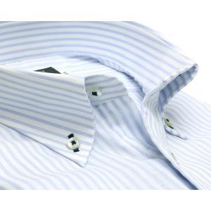 標準体 長袖 Wガーゼ ワイシャツ 形態安定 ボタンダウン 綿100% 白×サックスストライプ|shirt|02