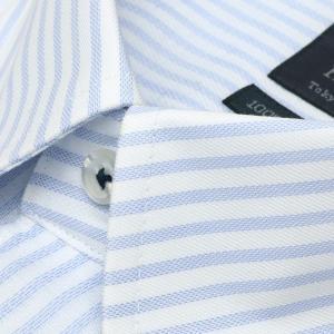標準体 長袖 Wガーゼ ワイシャツ 形態安定 ボタンダウン 綿100% 白×サックスストライプ|shirt|03