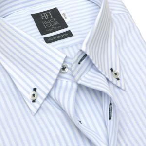 標準体 長袖 Wガーゼ ワイシャツ 形態安定 ボタンダウン 綿100% 白×サックスストライプ|shirt|04