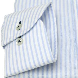 標準体 長袖 Wガーゼ ワイシャツ 形態安定 ボタンダウン 綿100% 白×サックスストライプ|shirt|05