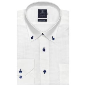標準体 長袖 Wガーゼ ワイシャツ 形態安定 ドゥエボットーニ ボタンダウン 綿100% 白×無地調織柄|shirt