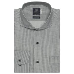 ワイシャツ 長袖 形態安定 Wガーゼ ホリゾンタル ワイド 綿100% グレー×白ストライプ 標準体|shirt