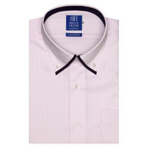 新体型 半袖 ワイシャツ 形態安定 マイター ドゥエボットーニ ボタンダウン 綿100% ピンク×ストライプ織柄|shirt