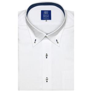 ワイシャツ 半袖 形態安定 ボタンダウン 白×織柄(透け防止) 新体型|shirt
