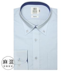 スリム 長袖 ワイシャツ 形態安定 ボタンダウン 麻混 サックス×千鳥格子織柄|shirt
