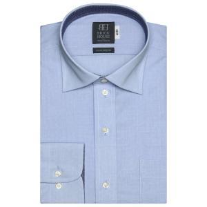 標準体 長袖 ワイシャツ 形態安定 ワイド 綿100% ブルー×小紋織柄|shirt
