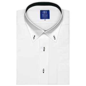 ワイシャツ 半袖 形態安定 ボタンダウン 白×ダイヤチェック織柄 新体型|shirt