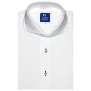 ワイシャツ 半袖 形態安定 ホリゾンタル ワイド 白×ストライプ織柄 新体型|shirt