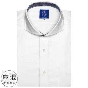 新体型 半袖 ワイシャツ 形態安定 ホリゾンタル ワイド 麻混 白×織柄 shirt