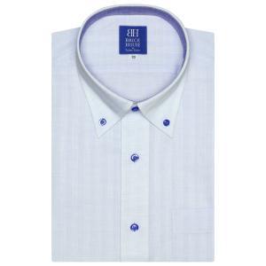 新体型 半袖 ワイシャツ 形態安定 ボタンダウン 白×サックス刺子風、ストライプ織柄|shirt