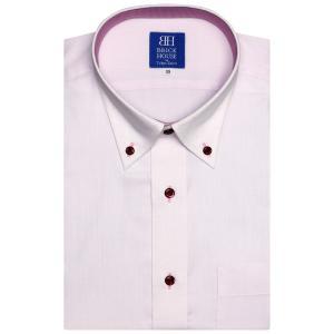 新体型 半袖 ワイシャツ 形態安定 ボタンダウン ピンク×ドット織柄|shirt