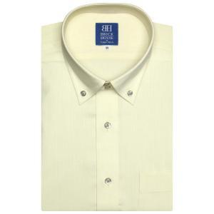 新体型 半袖 ワイシャツ 形態安定 ドゥエボットーニ ボタンダウン クリームイエロー×ドット織柄|shirt