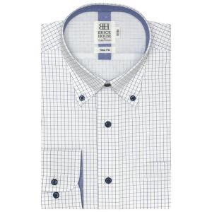 スリム 長袖 メッシュインナー ワイシャツ 形態安定 ボタンダウン 白×ブルーチェック|shirt