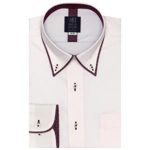 標準体 長袖 フィットインナー ワイシャツ 形態安定 パイピング風 ボタンダウン ピンク×斜めストライプ織柄|shirt