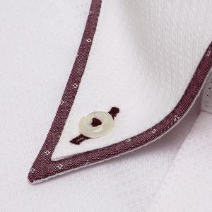 標準体 長袖 フィットインナー ワイシャツ 形態安定 パイピング風 ボタンダウン ピンク×斜めストライプ織柄|shirt|03
