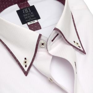 標準体 長袖 フィットインナー ワイシャツ 形態安定 パイピング風 ボタンダウン ピンク×斜めストライプ織柄|shirt|04