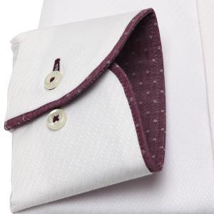 標準体 長袖 フィットインナー ワイシャツ 形態安定 パイピング風 ボタンダウン ピンク×斜めストライプ織柄|shirt|05