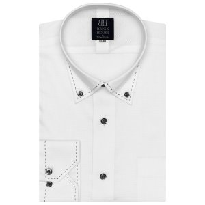 標準体 長袖 メッシュインナー ワイシャツ 形態安定 ドゥエボットーニ ボタンダウン 白×ドット織柄|shirt