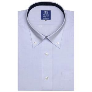 Disney ディズニー / ワイシャツ 半袖 形態安定 ボタンダウン サックス×ドットチェック、ミッキーシェイプ織柄 新体型|shirt
