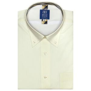 ワイシャツ 半袖 形態安定 フィットインナー ボタンダウン クリームイエロー×ダイヤチェック織柄 新体型|shirt