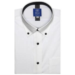 ワイシャツ 半袖 形態安定 フィットインナー ドゥエボットーニ ボタンダウン 白×ストライプ織柄 新体型|shirt
