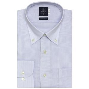 標準体 長袖 Wガーゼ ワイシャツ 形態安定 ボタンダウン 綿100% サックス×ヘリンボーン織柄|shirt