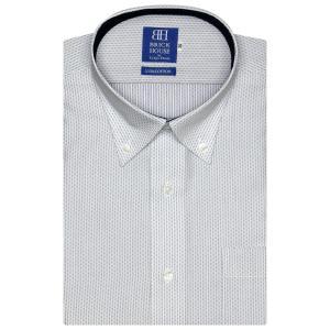 新体型 半袖 ワイシャツ 形態安定 ボタンダウン 綿100% 白×ネイビー刺子調柄|shirt