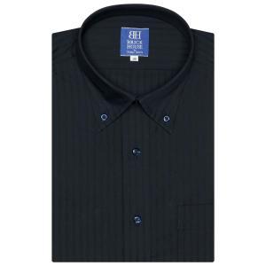ワイシャツ 半袖 形態安定 ボタンダウン ネイビー×ストライプ織柄 新体型|shirt