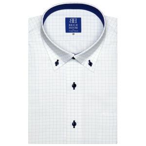 ワイシャツ 半袖 形態安定 ドゥエボットーニ ボタンダウン 白×ブルーチェック 新体型|shirt