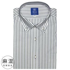 ワイシャツ 半袖 形態安定 ドゥエボットーニ ボタンダウン 麻混 白×ネイビーストライプ 新体型|shirt