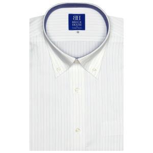 新体型 半袖 ワイシャツ 形態安定 ボタンダウン 白×ブルーストライプ|shirt