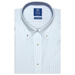 新体型 半袖 ワイシャツ 形態安定 ボタンダウン 綿100% サックス×白、ブルーストライプ|shirt