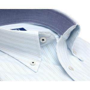 新体型 半袖 ワイシャツ 形態安定 ボタンダウン 綿100% サックス×白、ブルーストライプ|shirt|02