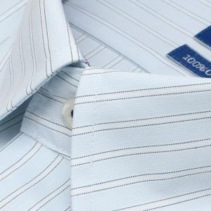 新体型 半袖 ワイシャツ 形態安定 ボタンダウン 綿100% サックス×白、ブルーストライプ|shirt|03