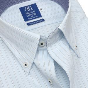 新体型 半袖 ワイシャツ 形態安定 ボタンダウン 綿100% サックス×白、ブルーストライプ|shirt|04