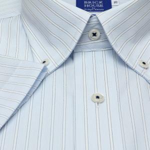 新体型 半袖 ワイシャツ 形態安定 ボタンダウン 綿100% サックス×白、ブルーストライプ|shirt|05