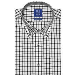 新体型 半袖 ワイシャツ 形態安定 ドゥエボットーニ ボタンダウン 綿100% 白×黒チェック|shirt