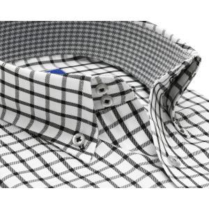 ワイシャツ 半袖 形態安定 ドゥエボットーニ ボタンダウン 綿100% 白×黒チェック 新体型|shirt|02
