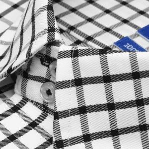 ワイシャツ 半袖 形態安定 ドゥエボットーニ ボタンダウン 綿100% 白×黒チェック 新体型|shirt|03