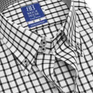 ワイシャツ 半袖 形態安定 ドゥエボットーニ ボタンダウン 綿100% 白×黒チェック 新体型|shirt|04