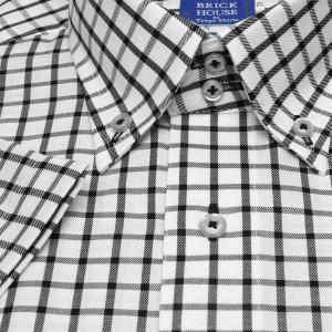 ワイシャツ 半袖 形態安定 ドゥエボットーニ ボタンダウン 綿100% 白×黒チェック 新体型|shirt|05