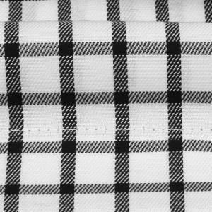 ワイシャツ 半袖 形態安定 ドゥエボットーニ ボタンダウン 綿100% 白×黒チェック 新体型|shirt|06