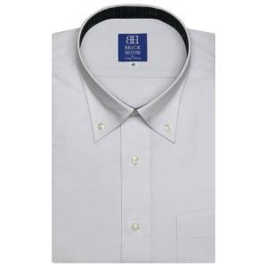 Disney ディズニー / ワイシャツ 半袖 形態安定 ボタンダウン ライトグレー×ドットチェック、ミッキーシェイプ織柄 新体型|shirt