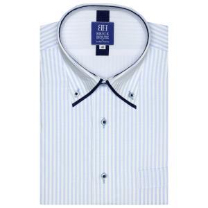 ワイシャツ 半袖 形態安定 フィットインナー マイター ボタンダウン 白×サックスストライプ 新体型|shirt