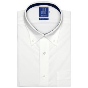 新体型 ビズポロ 半袖 ニットシャツ 形態安定 ボタンダウン 麻混 白×無地調|shirt