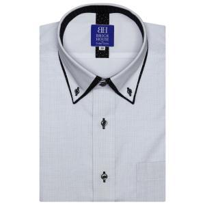 新体型 半袖 フィットインナー ワイシャツ 形態安定 パイピング風 ドゥエボットーニ ボタンダウン ライトグレー×ストライプ織柄 shirt