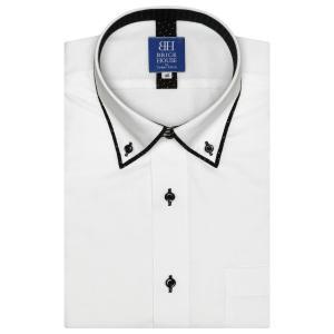ワイシャツ 半袖 形態安定 メッシュインナー パイピング風 ドゥエボットーニ ボタンダウン 白×斜めストライプ織柄 新体型|shirt