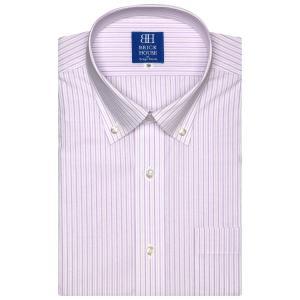 ワイシャツ 半袖 形態安定 ドゥエボットーニ ボタンダウン 白×パープルストライプ 新体型|shirt