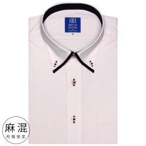 ワイシャツ 半袖 形態安定 マイター ボタンダウン 麻混 ピンク×小紋織柄 新体型|shirt